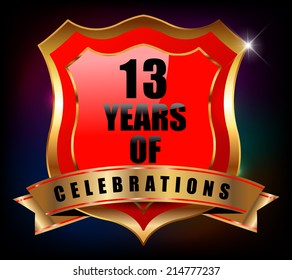 13 years anniversary golden celebration label badge - vector eps10