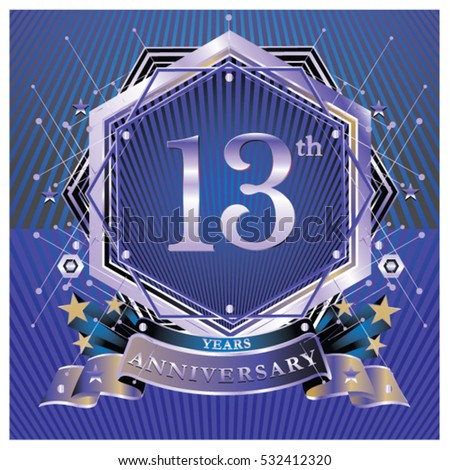 13 Years Anniversary Logo Celebration Ring Stock Vector Royalty