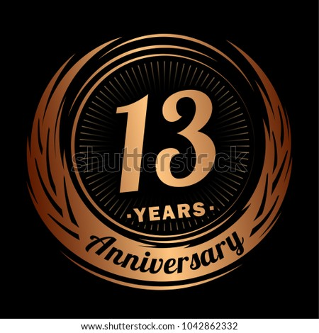 13 Years Anniversary Anniversary Logo Design Stock Vector Royalty
