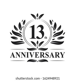 13 years Anniversary logo, luxurious 13th Anniversary design celebration.