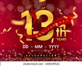 13 years anniversary logo template on gold background. 13th celebrating golden numbers with red ribbon vector and confetti isolated design elements