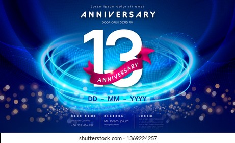 13 years anniversary logo template on dark blue Abstract futuristic space background. 13th modern technology design celebrating numbers with Hi-tech network digital technology concept design elements.
