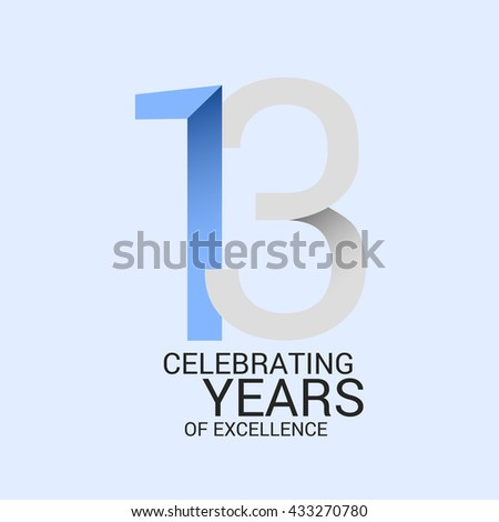 13 Years Anniversary Signs Symbols Simple Stock Vector Royalty Free