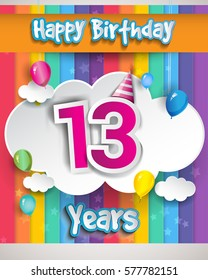13 Years Birthday Celebration, with balloons and clouds, Colorful Vector design for invitation card and birthday party.