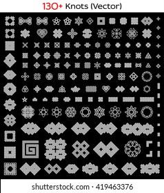 130+ Celtic, Chinese, etc. knots set. Vector illustration.