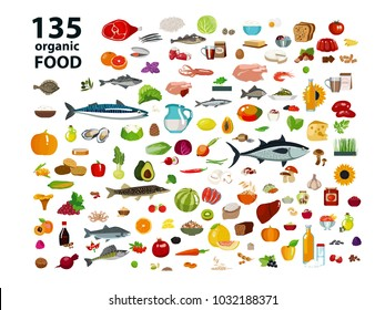 135 organic products. Natural food (meat products, vegetables, fruits, dairy products) in a set. Isolate on white background