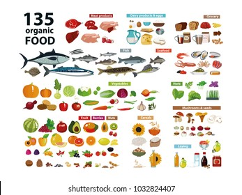 135 organic products. Natural food (meat products, vegetables, fruits, dairy products) in a set with categories. Isolate on white background