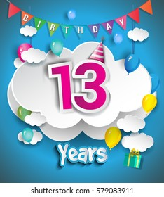 13th Anniversary Celebration Design, with clouds and balloons, confetti. Vector template elements for your, thirteen years birthday celebration party.