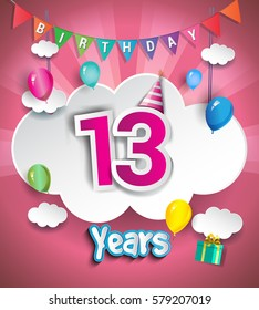 13th Anniversary Celebration Design, with clouds and balloons. using Paper Art Design Style, Vector template elements for your, thirteen years birthday celebration party.