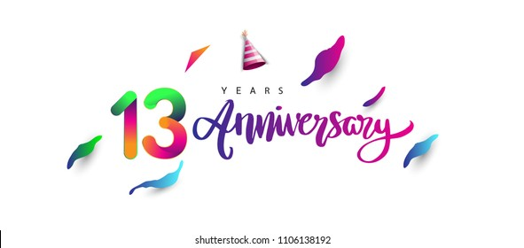 13th anniversary celebration logotype and anniversary calligraphy text colorful design, celebration birthday design on white background.