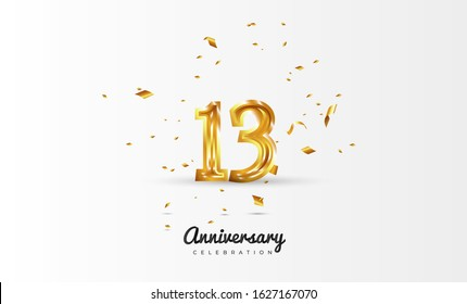 13th Anniversary celebration Vector background by using two colors in the design between gold and white, Golden number 13 with sparkling confetti Realistic gold 3d sign. Birthday or wedding party