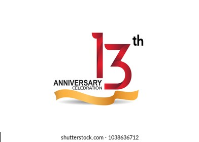 13th anniversary design logotype red color and golden ribbon for celebration isolated on white background