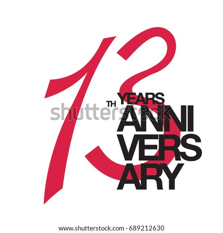 13 Th Anniversary Emblem Thirteen Years Anniversary Stock Vector