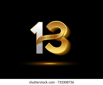 13th anniversary glowing logotype with ribbon golden colored isolated on dark background, vector design for greeting card and invitation card.