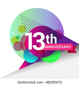 13th Anniversary logo, Colorful geometric background vector design template elements for your birthday celebration.