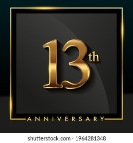 13th anniversary logo golden colored isolated on black background, vector design for greeting card and invitation card.