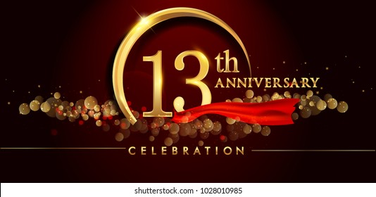 13th anniversary logo with golden ring, confetti and red ribbon isolated on elegant black background, sparkle, vector design for greeting card and invitation card
