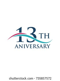 13th anniversary, logo, icon, vector