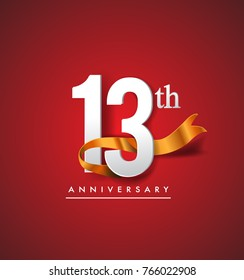 13th anniversary logotype with golden ribbon isolated on red elegance background, vector design for birthday celebration, greeting card and invitation card.