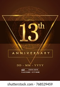 13th anniversary poster design on golden and elegant background, vector design for anniversary celebration, greeting card and invitation card.