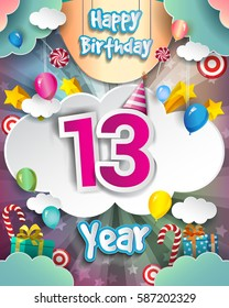 13th Birthday Celebration greeting card Design, with clouds and balloons. Vector elements for the celebration party of thirteen years anniversary
