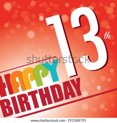 13th Birthday Party Invite Template Design In Bright And Colourful Retro Style