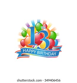 13th colorful happy birthday logo with balloons and burst of light