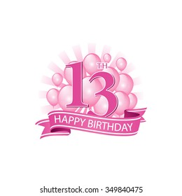 13th pink happy birthday logo with balloons and burst of light