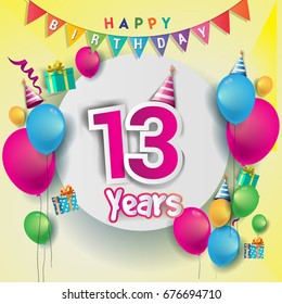 13th years Anniversary Celebration, birthday card or greeting card design with gift box and balloons, Colorful vector elements for the celebration party of thirteen years anniversary.