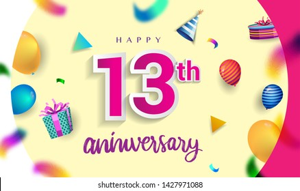 13th Years Anniversary Celebration Design, with gift box and balloons, ribbon, Colorful Vector template elements for your birthday celebrating party.