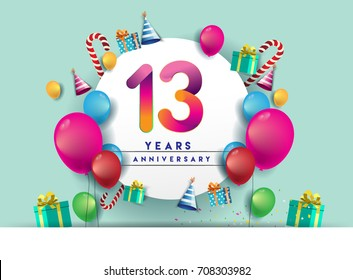 13th years Anniversary Celebration Design with balloons and gift box, Colorful design elements for banner and invitation card.