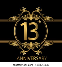 13th years anniversary celebration. 13th anniversary logo with gold color, foil, sparkle