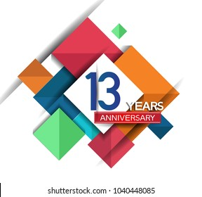 13th years anniversary design colorful square style isolated on white background for celebration
