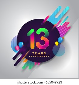 13th years Anniversary logo with colorful abstract background, vector design template elements for invitation card and poster your thirteen birthday celebration