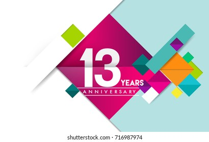 13th years anniversary logo, vector design birthday celebration with colorful geometric isolated on white background.