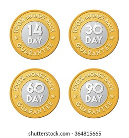 14, 30, 60, 90 money back guarantee labels. Vector signs in the form of golden coin.