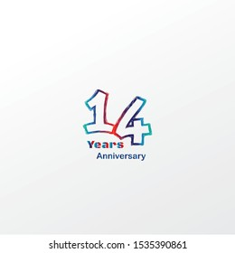 14 anniversary celebration logotype blue, orage and red colored. four years birthday logo on white background.