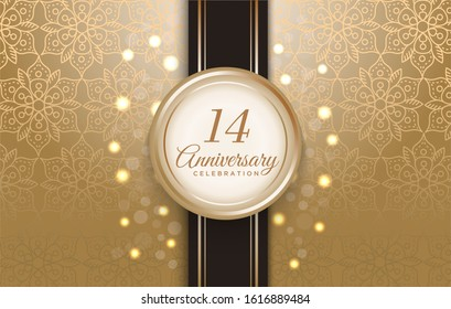 14 Anniversary celebration with luxury golden circle frame on the ribbon and pattern background.