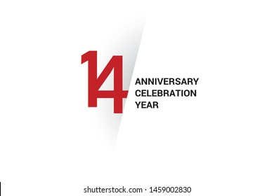 14 anniversary, minimalist logo. 14th jubilee, greeting card. Birthday invitation. year sign. Red space vector illustration on white background - Vector