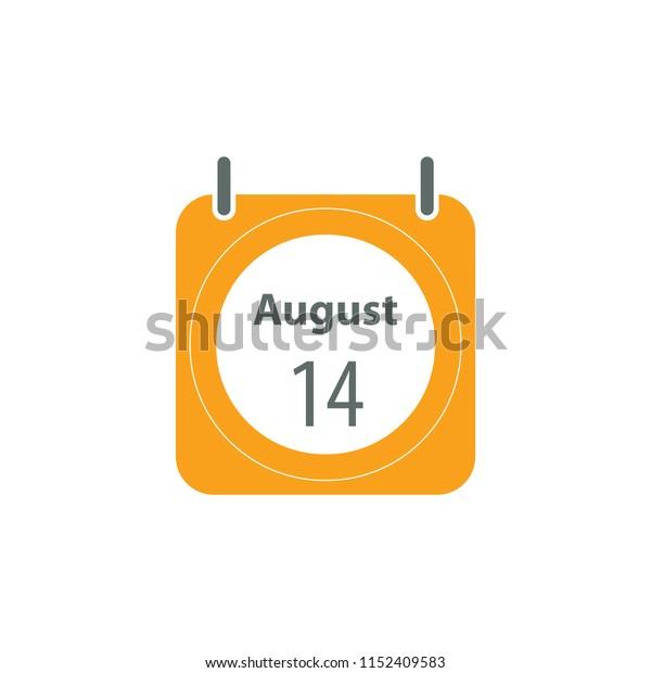 14 August calendar icon. Flat style vector calendar illustration