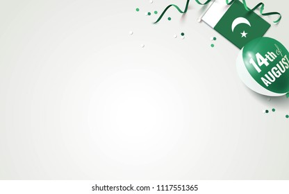 14 August Pakistan Happy Independence Day greeting card.  Top view.  Vector illustration