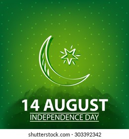14 August. Pakistan Independence Day. Celebration Background. Vector Illustration