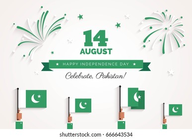 14 August. Pakistan Independence Day greeting card. Celebration background with fireworks, flags and text. Vector illustration