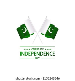 14 August.Pakistan Independence Day greeting card. Celebration b
