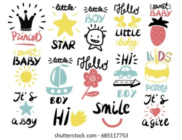 14 children s logo with handwriting Little boy, It s a girl, Hi, Princess, Smile, Sweet baby, Hello, Star. Kids background. Poster Emblem