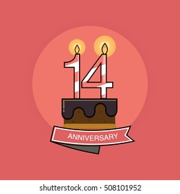 14 Colorful Birthday Candles number, Anniversary Logo Design Isolated on Pink Background