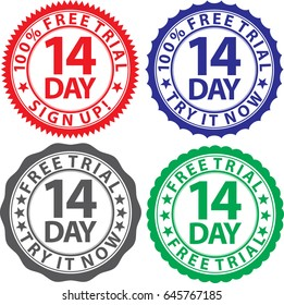 14 day free trial sign set, vector illustration