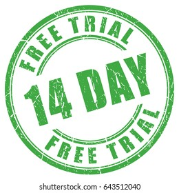 14 days free trial rubber vector stamp on white background