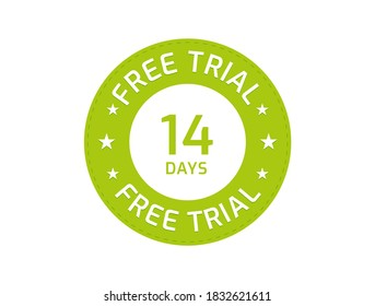 14 Days Free Trial stamp, 14 Days Free trial badges