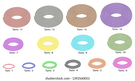 14 Elliptical spiral vector illustration that each have the different length of line, turns and colors.